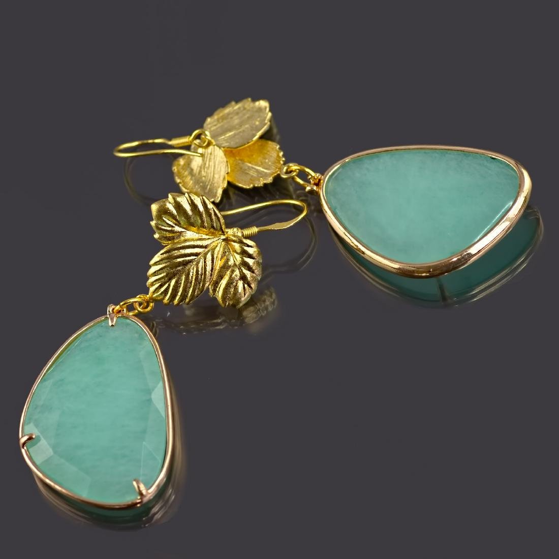 Aqua Jade Leaf Earrings - 3