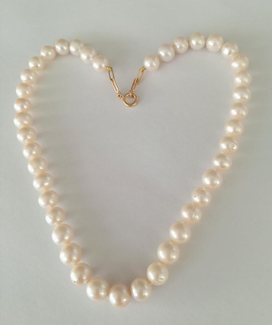 19.2 carats gold - necklace pearls water salt 10.5 mm - - 5