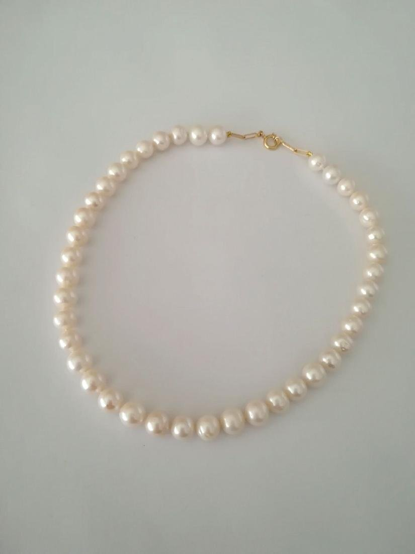 19.2 carats gold - necklace pearls water salt 10.5 mm - - 6