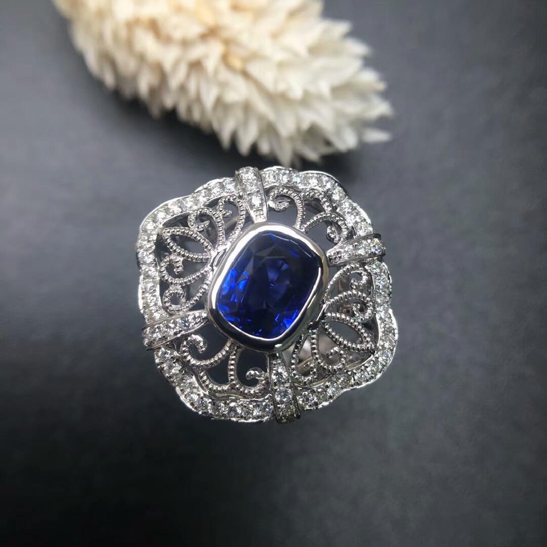 2.09 CTW Sapphire & VS Diamond Ring 18K
