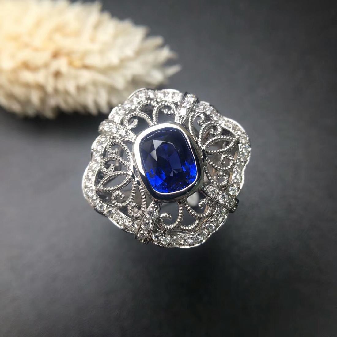 2.09 CTW Sapphire & VS Diamond Ring 18K - 2