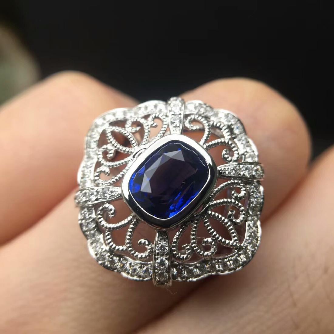 2.09 CTW Sapphire & VS Diamond Ring 18K - 3