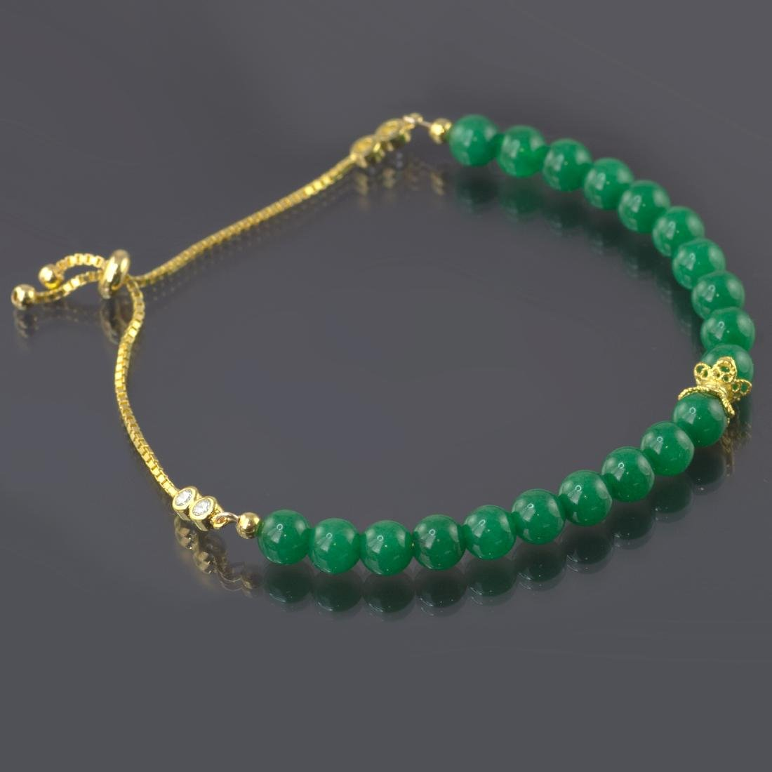 Adjustable Imperial Green Jade Bracelet - 3