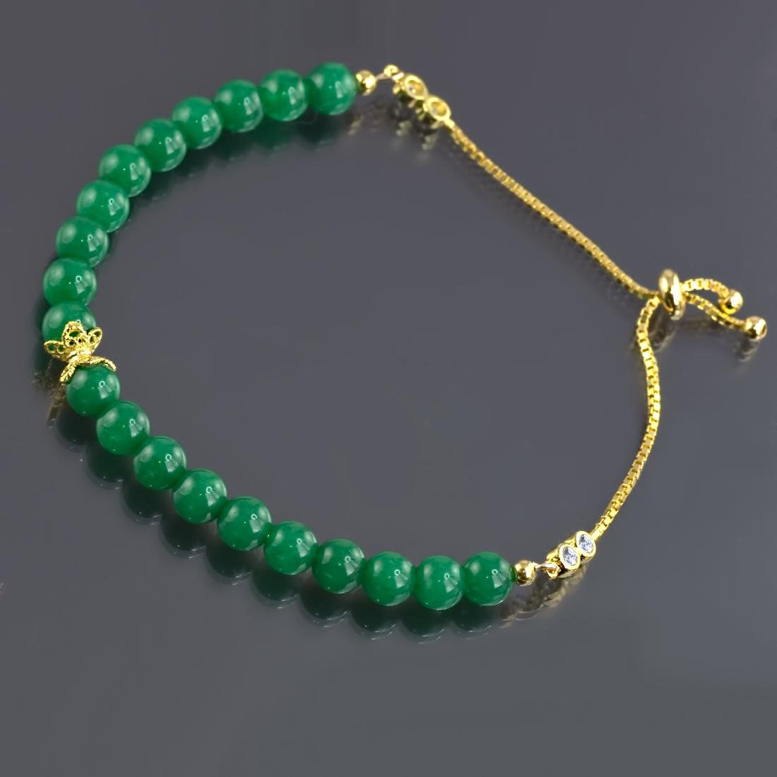 Adjustable Imperial Green Jade Bracelet - 4