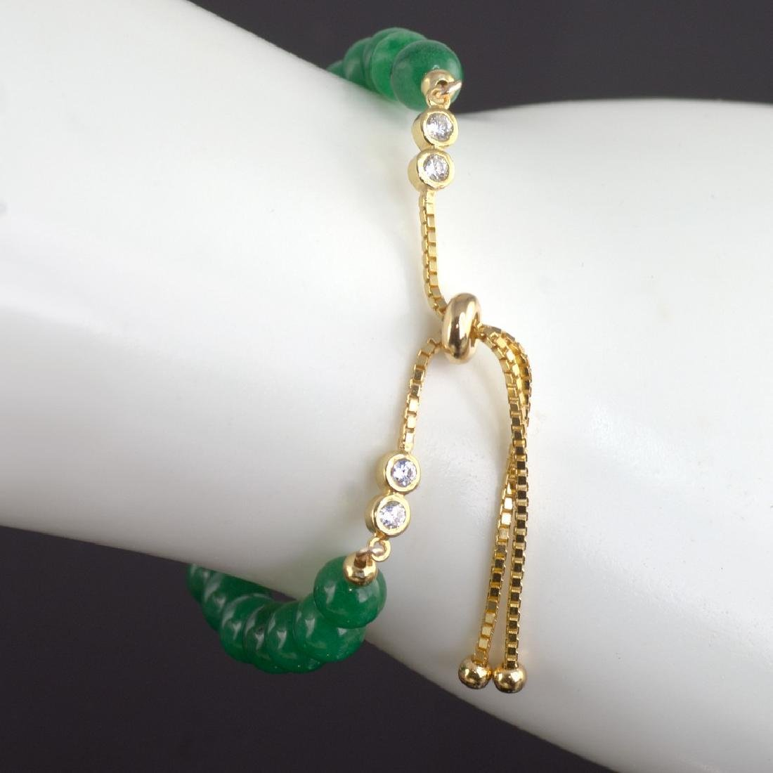 Adjustable Imperial Green Jade Bracelet - 5