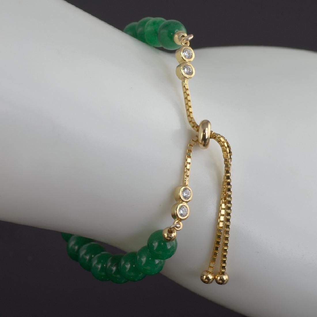 Adjustable Imperial Green Jade Bracelet - 6