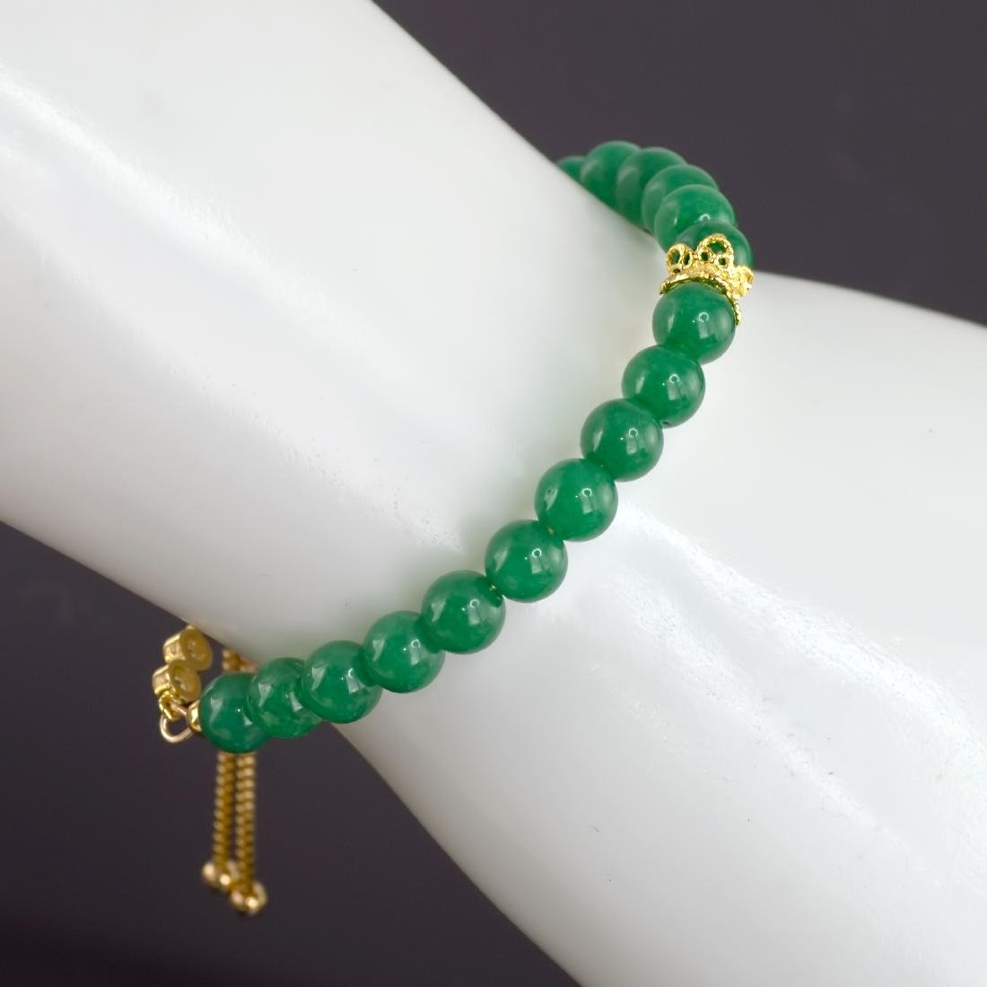 Adjustable Imperial Green Jade Bracelet - 7