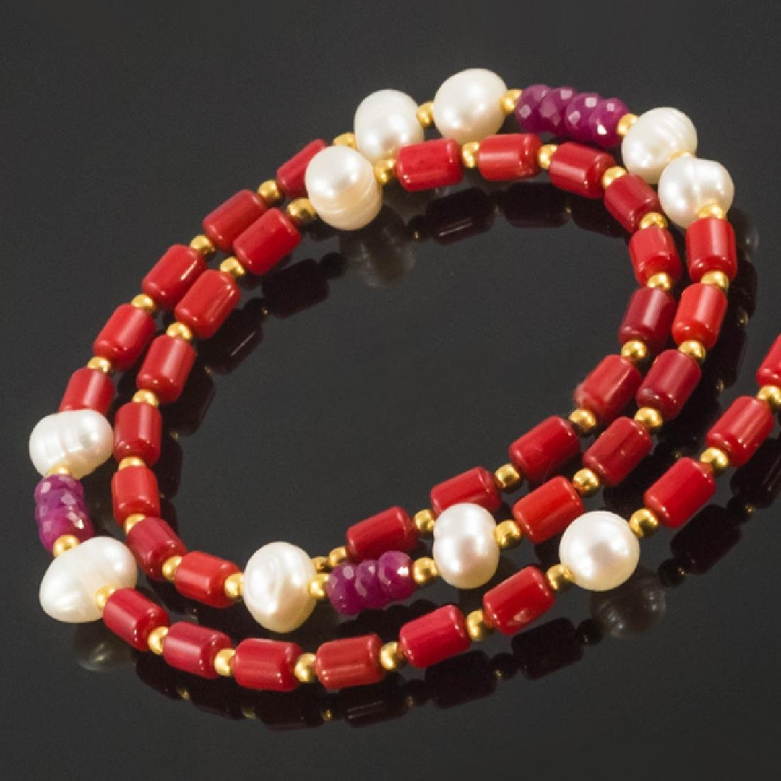 Coral Necklace with Pearls and Rubies 9.8ctw
