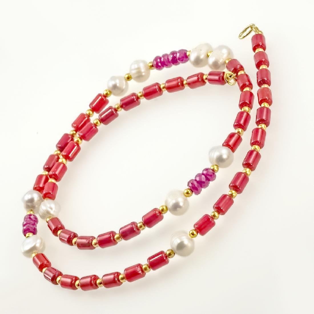 Coral Necklace with Pearls and Rubies 9.8ctw - 2