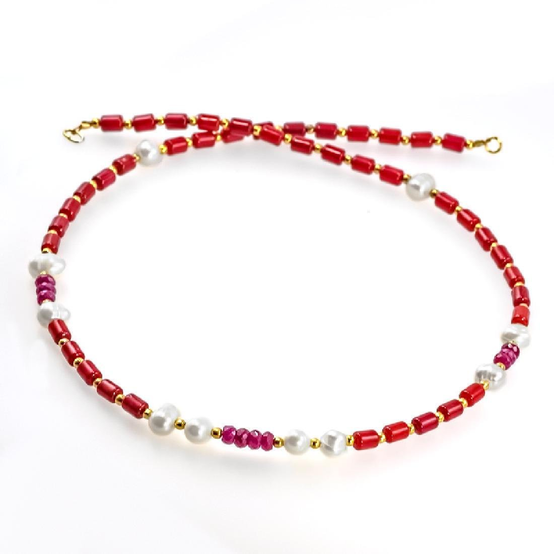 Coral Necklace with Pearls and Rubies 9.8ctw - 3