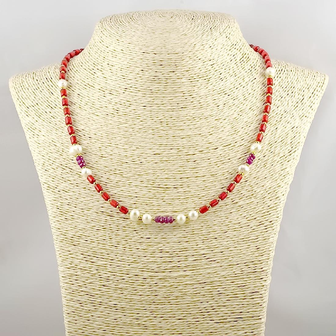 Coral Necklace with Pearls and Rubies 9.8ctw - 4