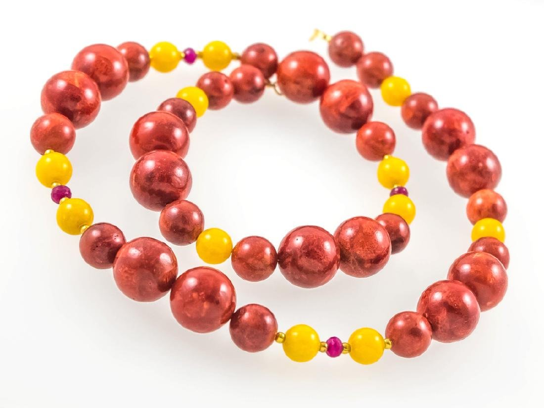 Coral and Jade necklace with Rubies