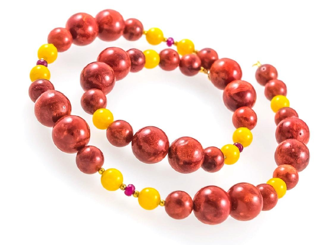 Coral and Jade necklace with Rubies - 2