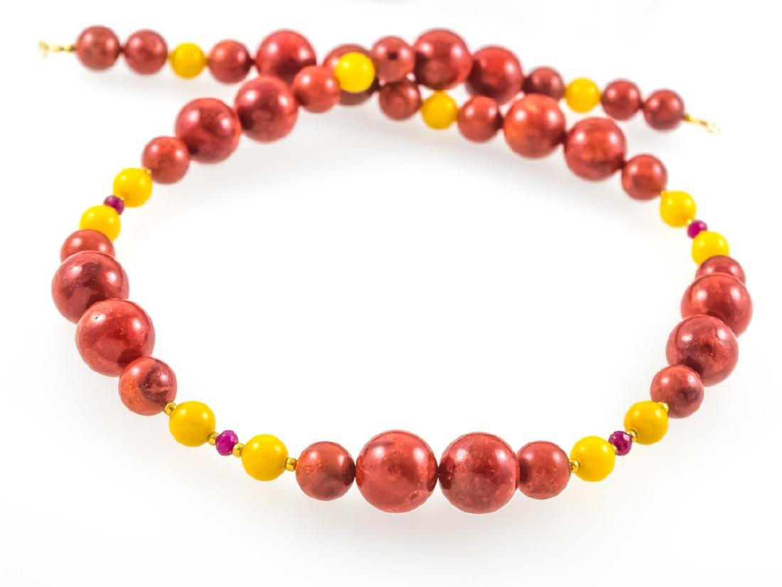 Coral and Jade necklace with Rubies - 3