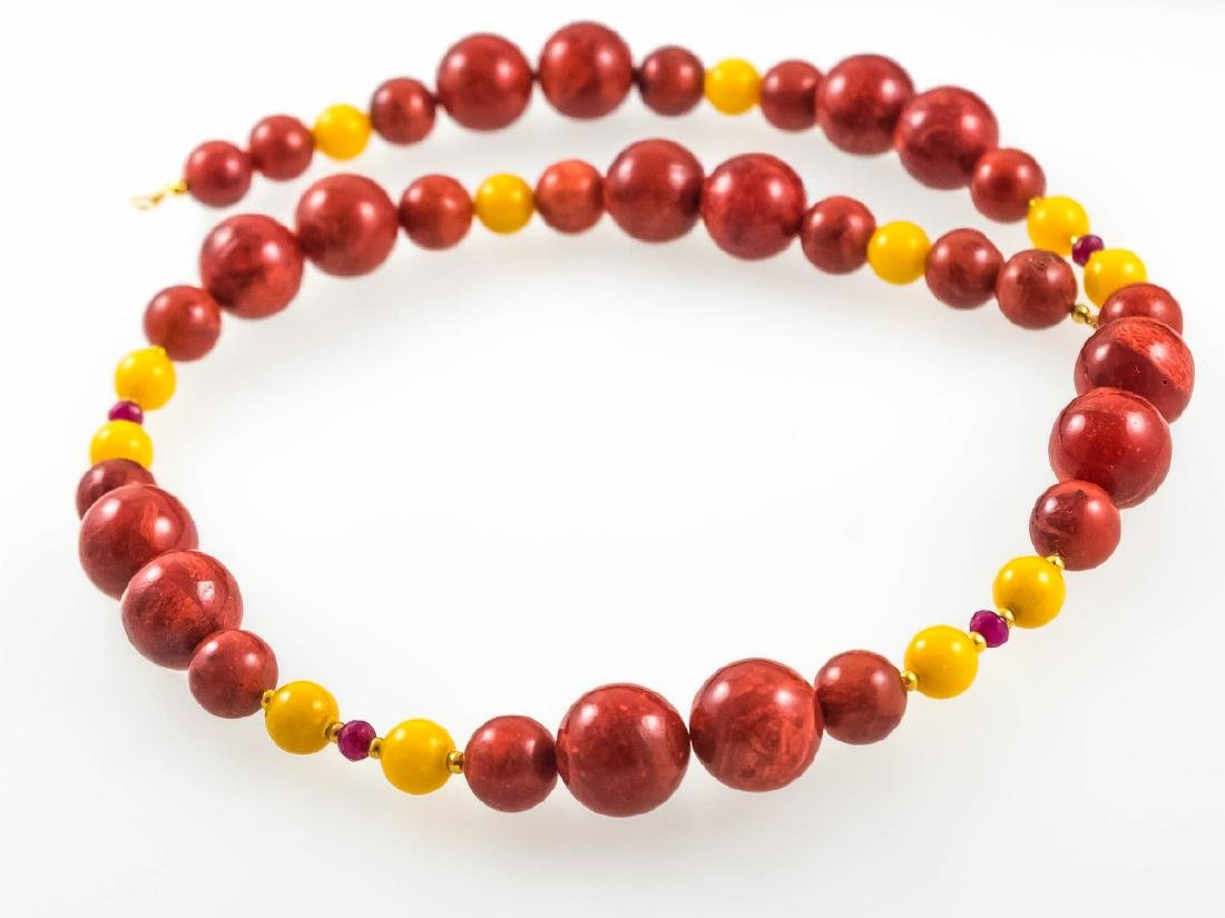 Coral and Jade necklace with Rubies - 5