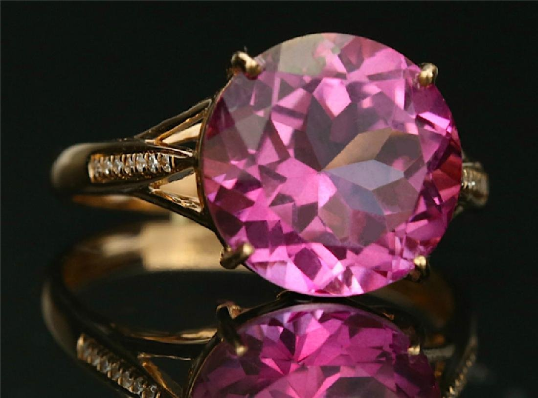 Certified-18K rose gold ring with Pink Topaz - 2