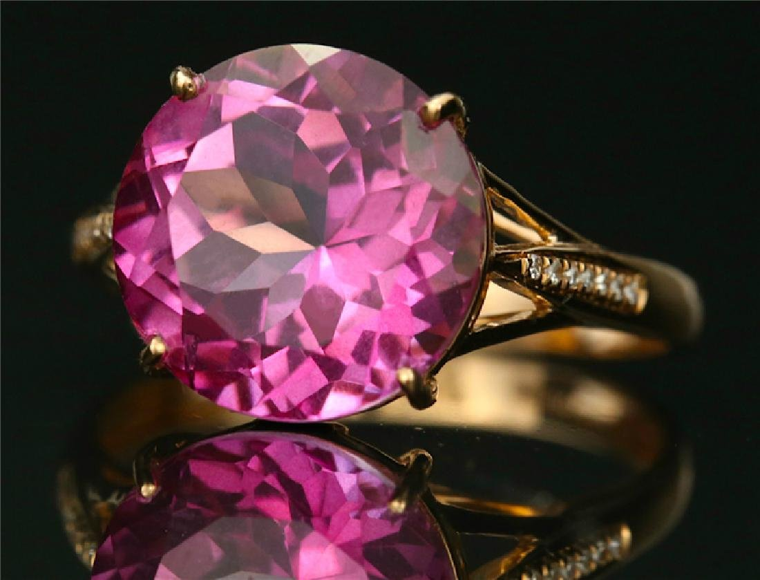 Certified-18K rose gold ring with Pink Topaz - 3