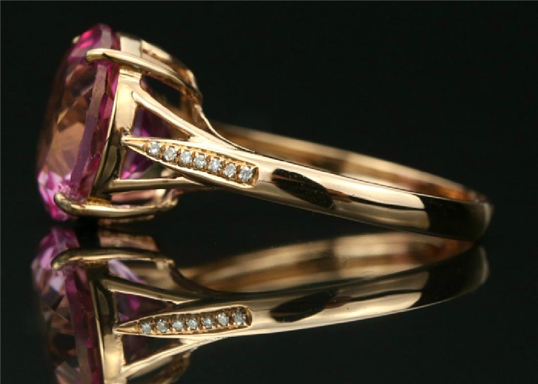 Certified-18K rose gold ring with Pink Topaz - 4