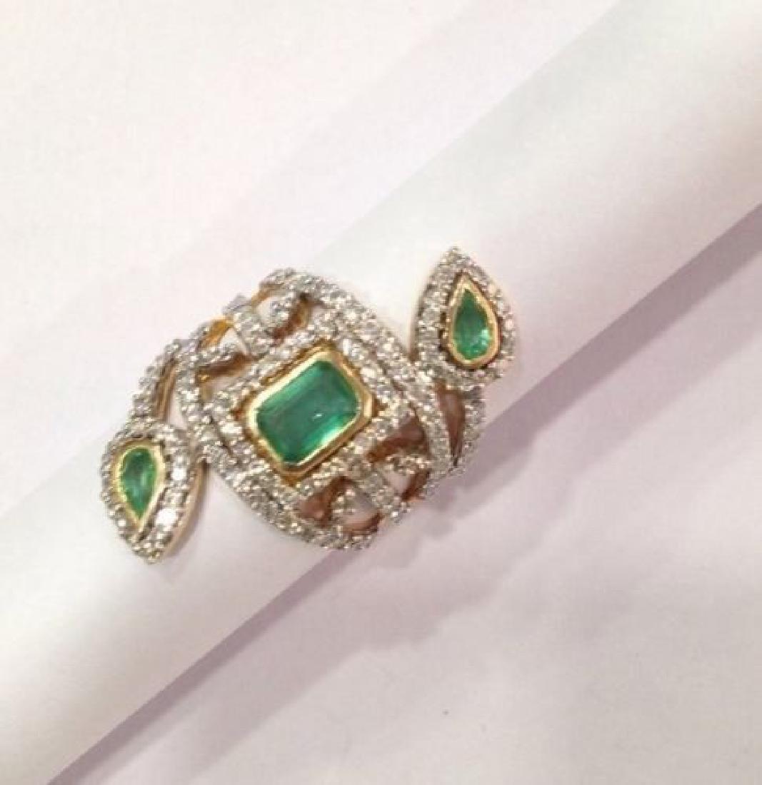 2 ctw Emerald and 2.50 ctw Diamond Ring - 14KT Yellow