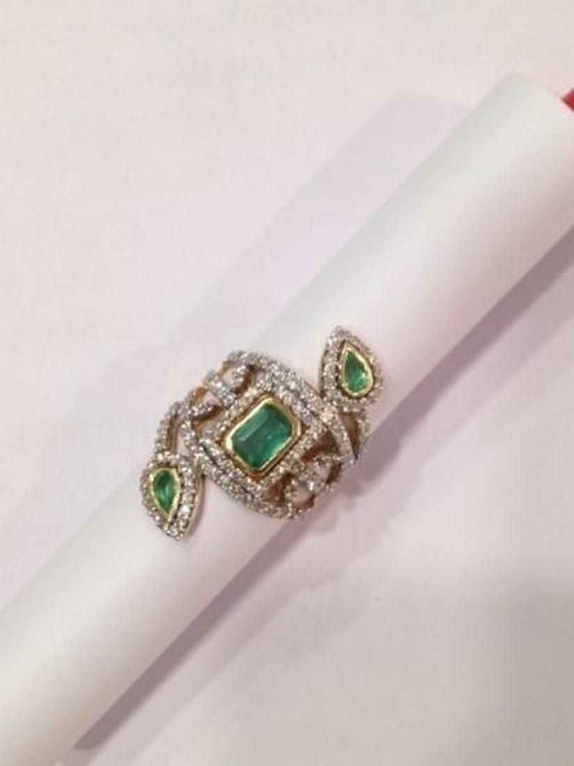2 ctw Emerald and 2.50 ctw Diamond Ring - 14KT Yellow - 2