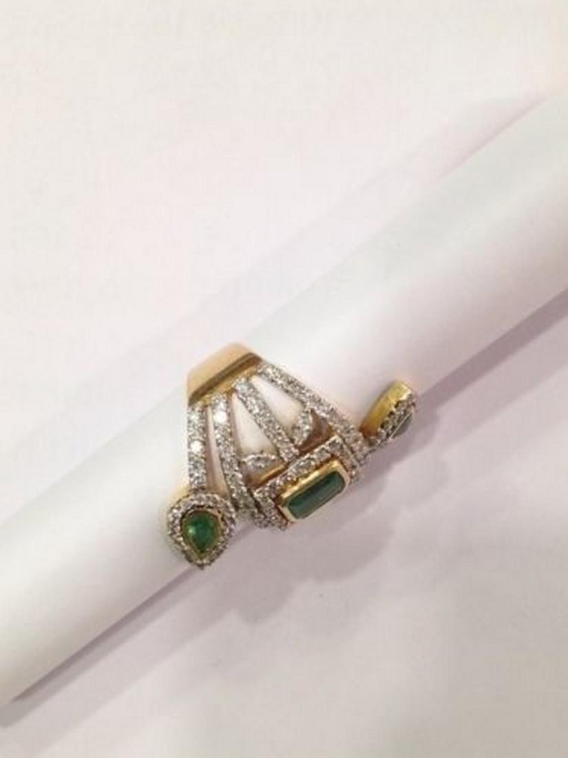 2 ctw Emerald and 2.50 ctw Diamond Ring - 14KT Yellow - 3