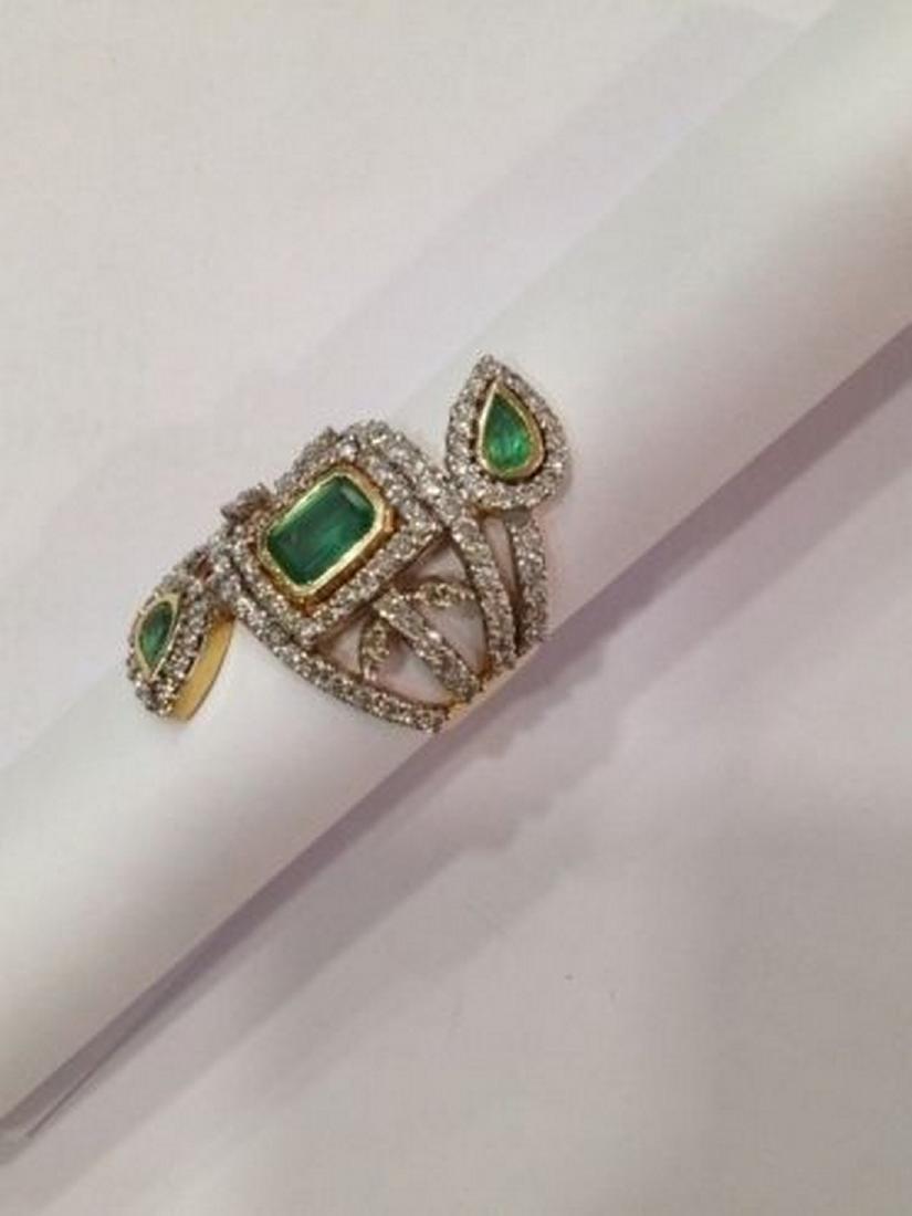 2 ctw Emerald and 2.50 ctw Diamond Ring - 14KT Yellow - 4