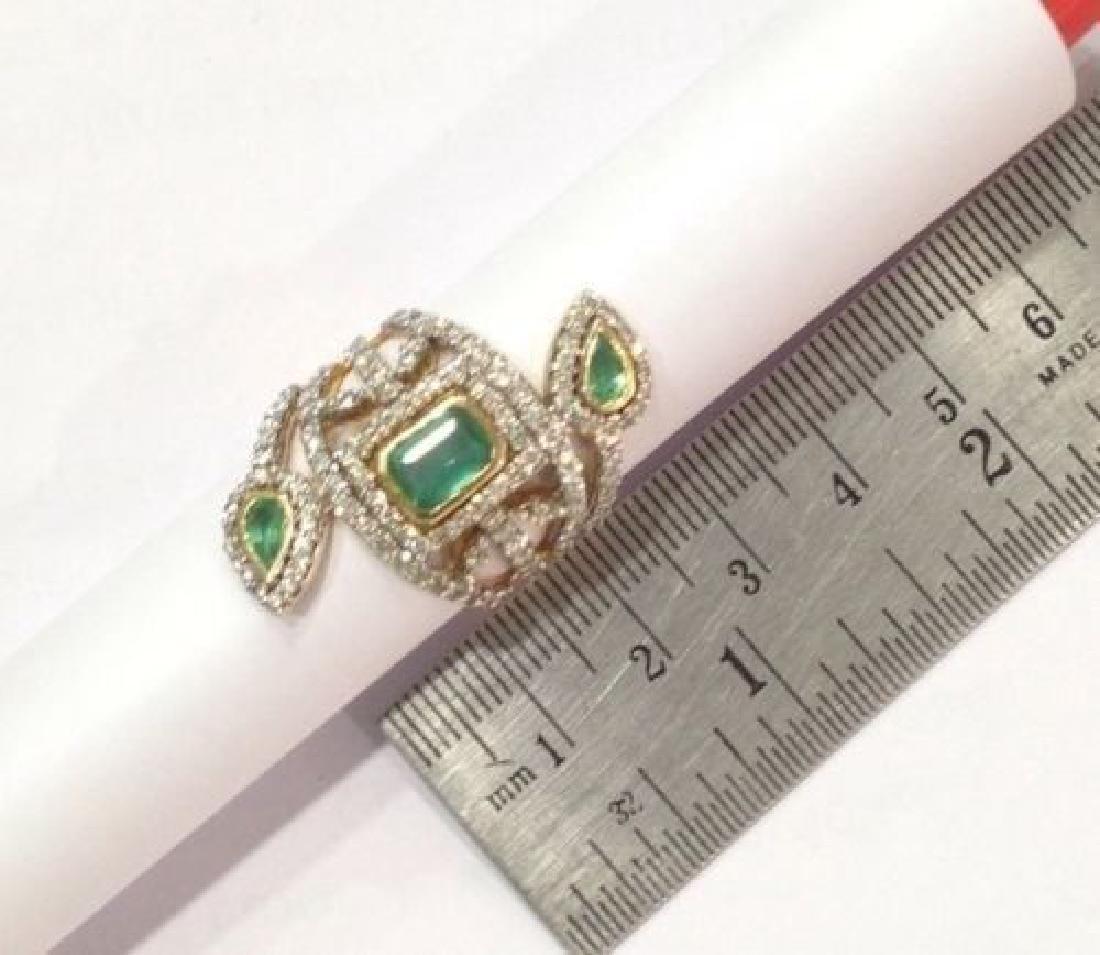 2 ctw Emerald and 2.50 ctw Diamond Ring - 14KT Yellow - 5