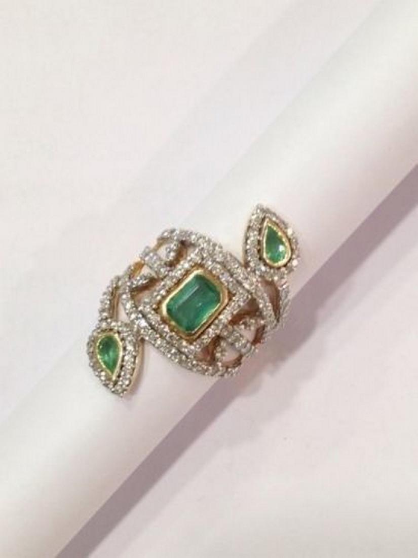 2 ctw Emerald and 2.50 ctw Diamond Ring - 14KT Yellow - 6