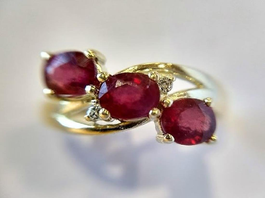 Ring New Ruby Trilogy with 2 Diamonds 14K Gold Made in