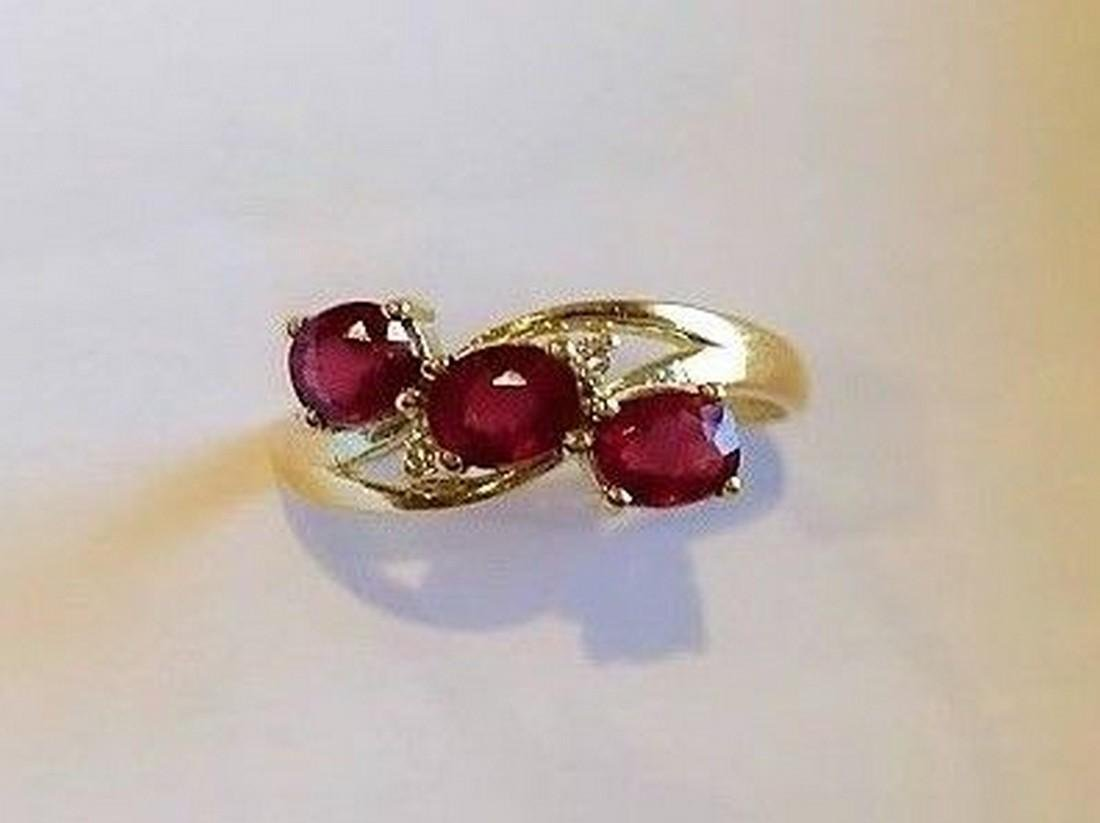 Ring New Ruby Trilogy with 2 Diamonds 14K Gold Made in - 2