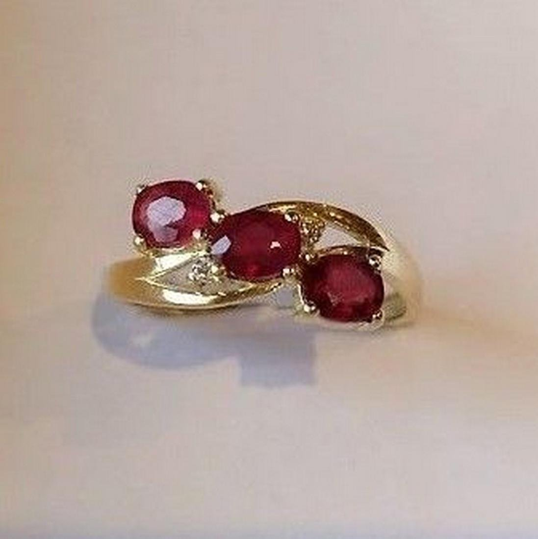 Ring New Ruby Trilogy with 2 Diamonds 14K Gold Made in - 3