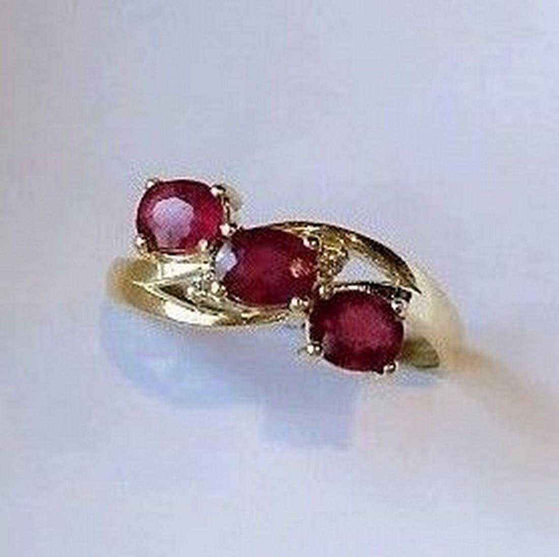 Ring New Ruby Trilogy with 2 Diamonds 14K Gold Made in - 4