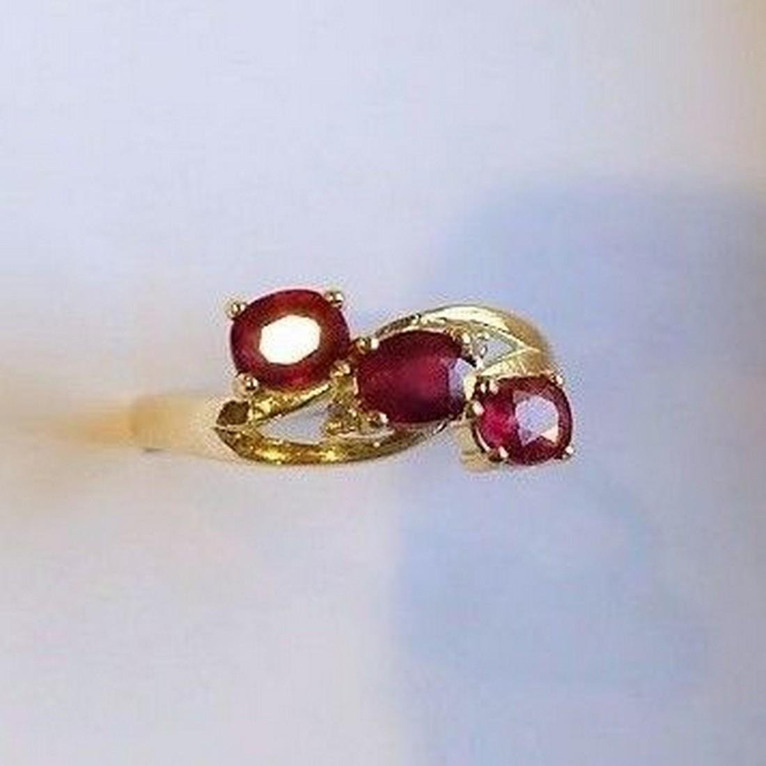 Ring New Ruby Trilogy with 2 Diamonds 14K Gold Made in - 5