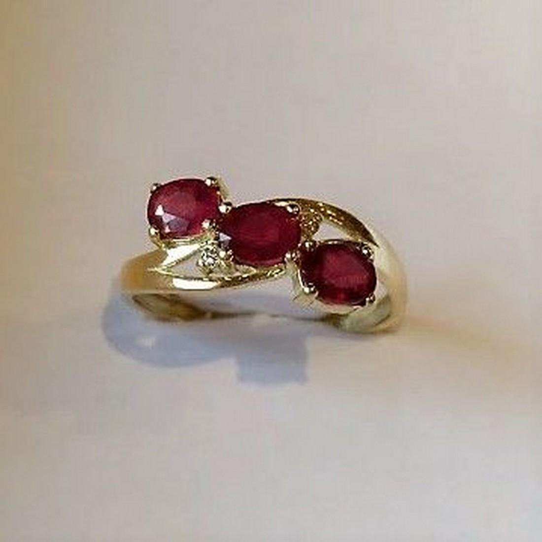 Ring New Ruby Trilogy with 2 Diamonds 14K Gold Made in - 6