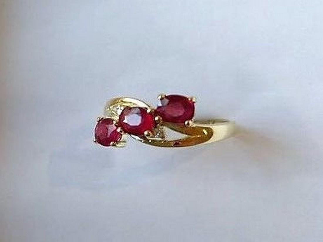 Ring New Ruby Trilogy with 2 Diamonds 14K Gold Made in - 7