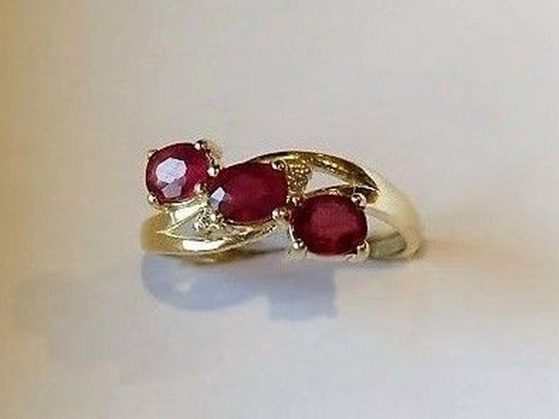 Ring New Ruby Trilogy with 2 Diamonds 14K Gold Made in - 8