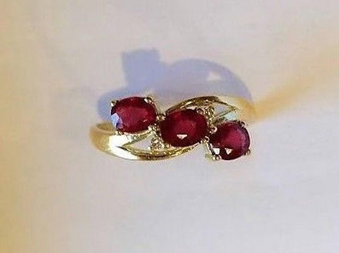 Ring New Ruby Trilogy with 2 Diamonds 14K Gold Made in - 9