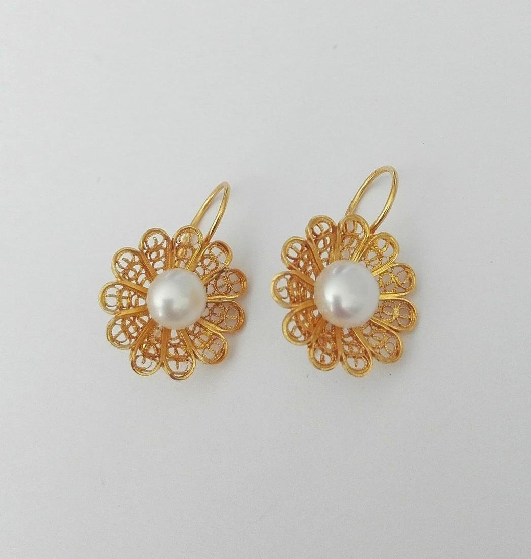 Earrings gold 19.2 carats - hand worked in Portuguese