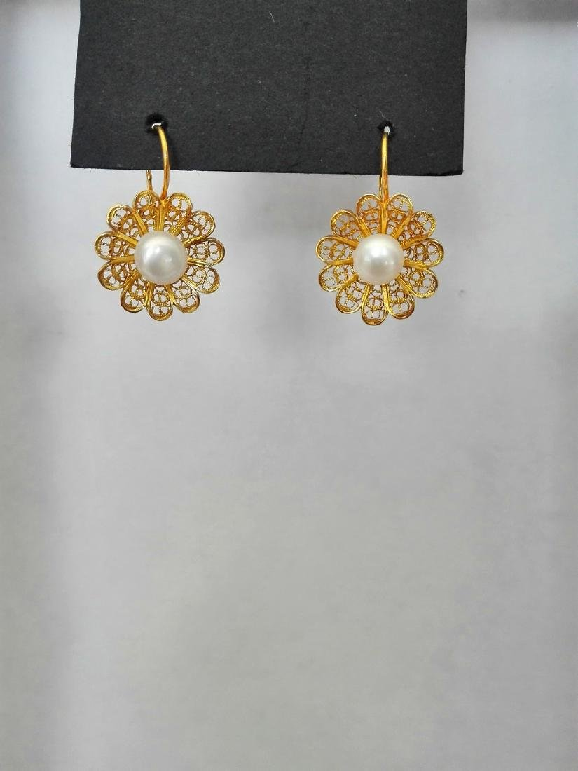 Earrings gold 19.2 carats - hand worked in Portuguese - 4