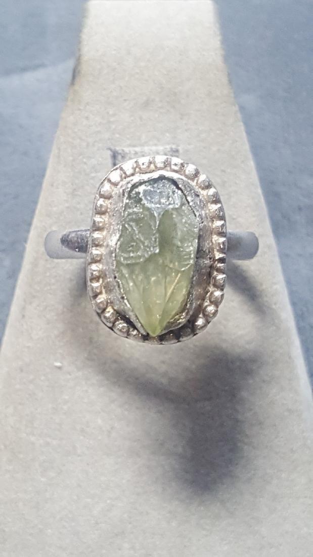 Vnt 5ct Green Diamond Rough 925 Rng