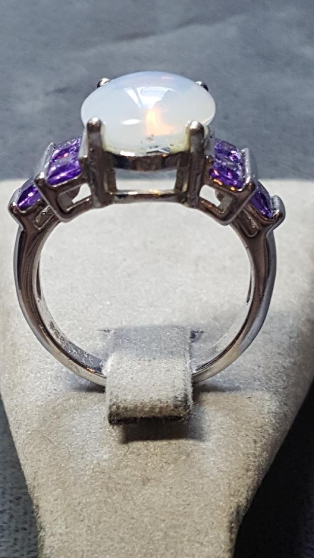Opal and Amethyst 925 Ring - 3