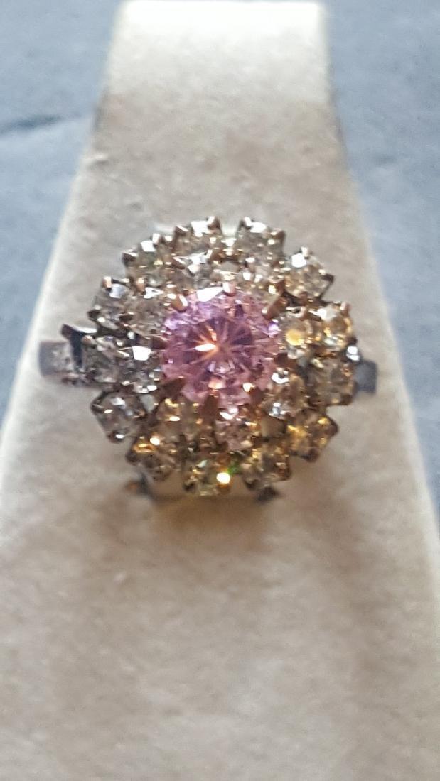 Pink Tourmaline CZ Cluster Ring