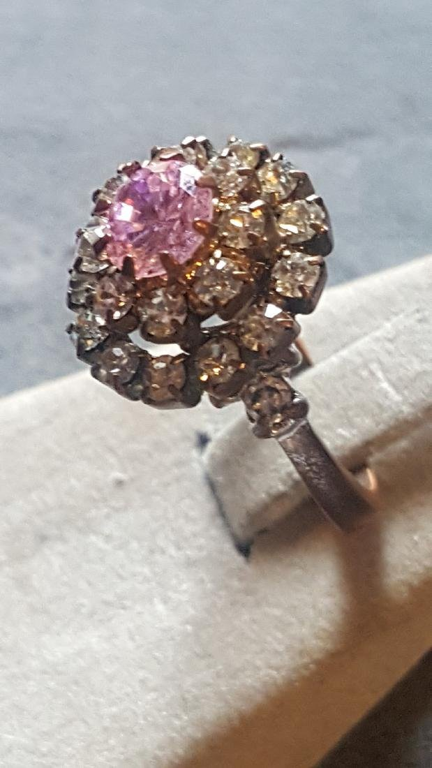 Pink Tourmaline CZ Cluster Ring - 2