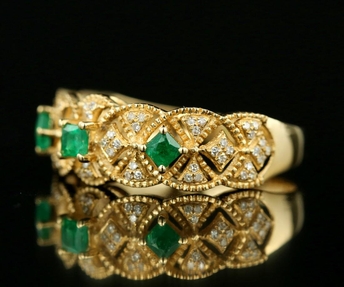 Certified-Exquisite 18KT yellow gold ring with Emerald - 3