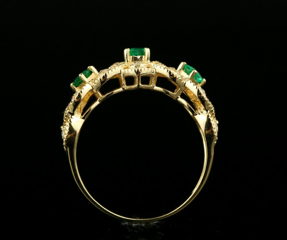 Certified-Exquisite 18KT yellow gold ring with Emerald - 6