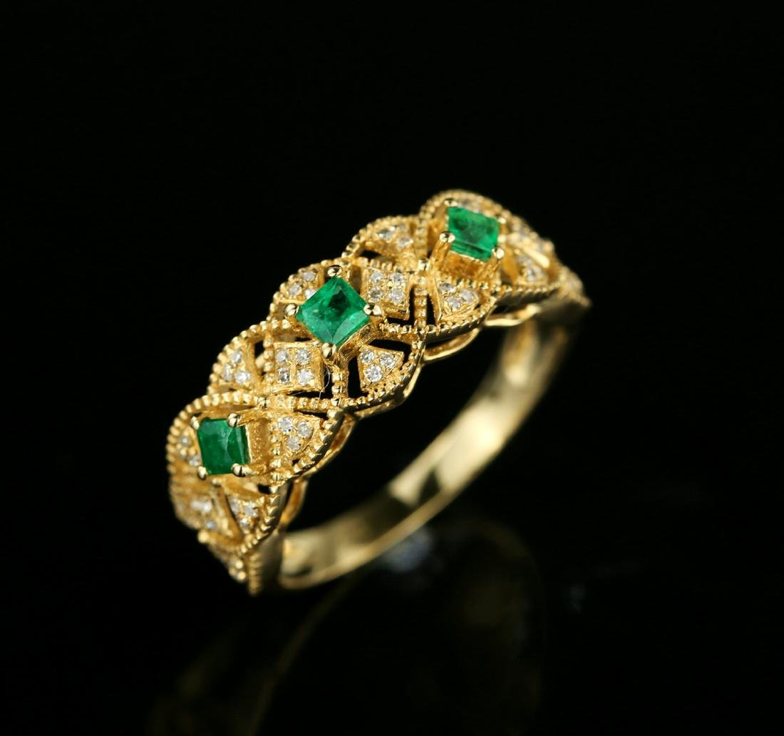 Certified-Exquisite 18KT yellow gold ring with Emerald - 7