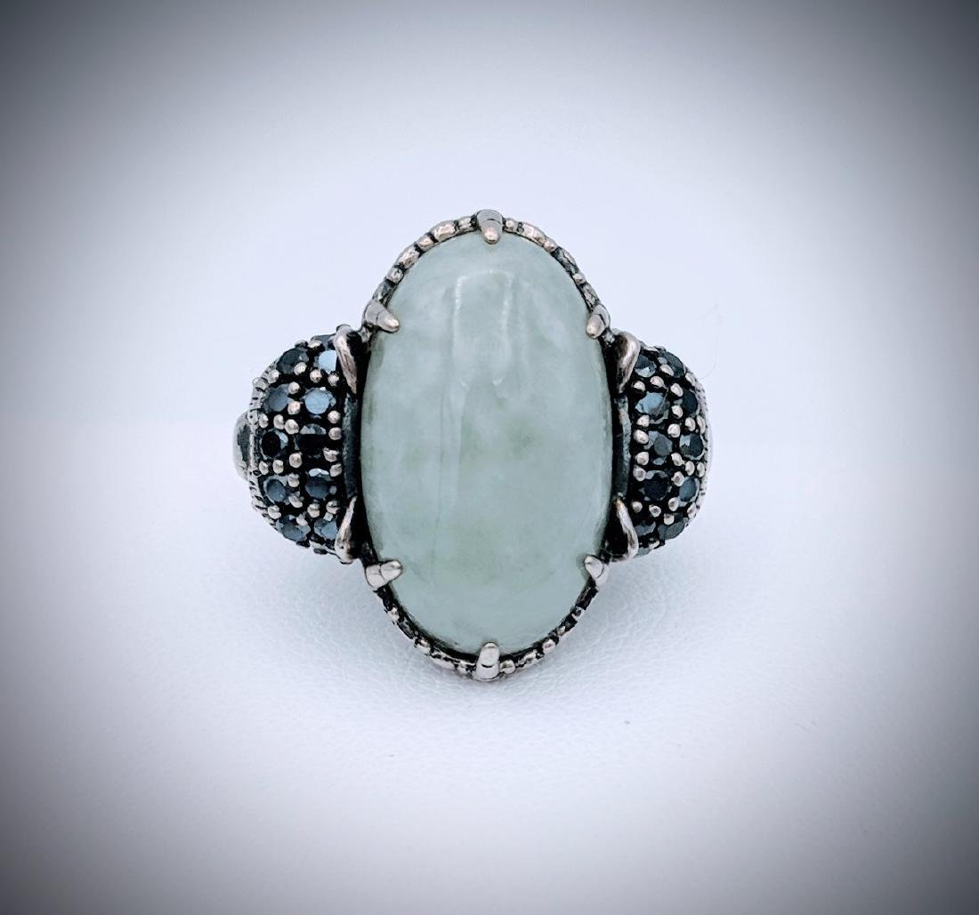 Sterling Silver Imperial Designed Ring with Jade,