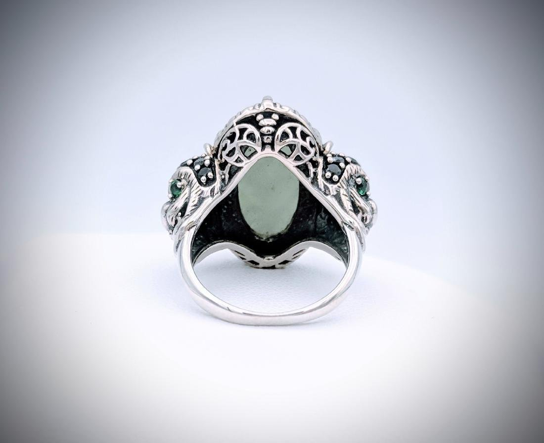 Sterling Silver Imperial Designed Ring with Jade, - 2