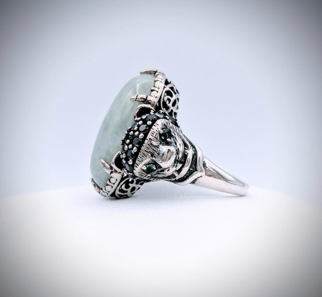 Sterling Silver Imperial Designed Ring with Jade, - 3