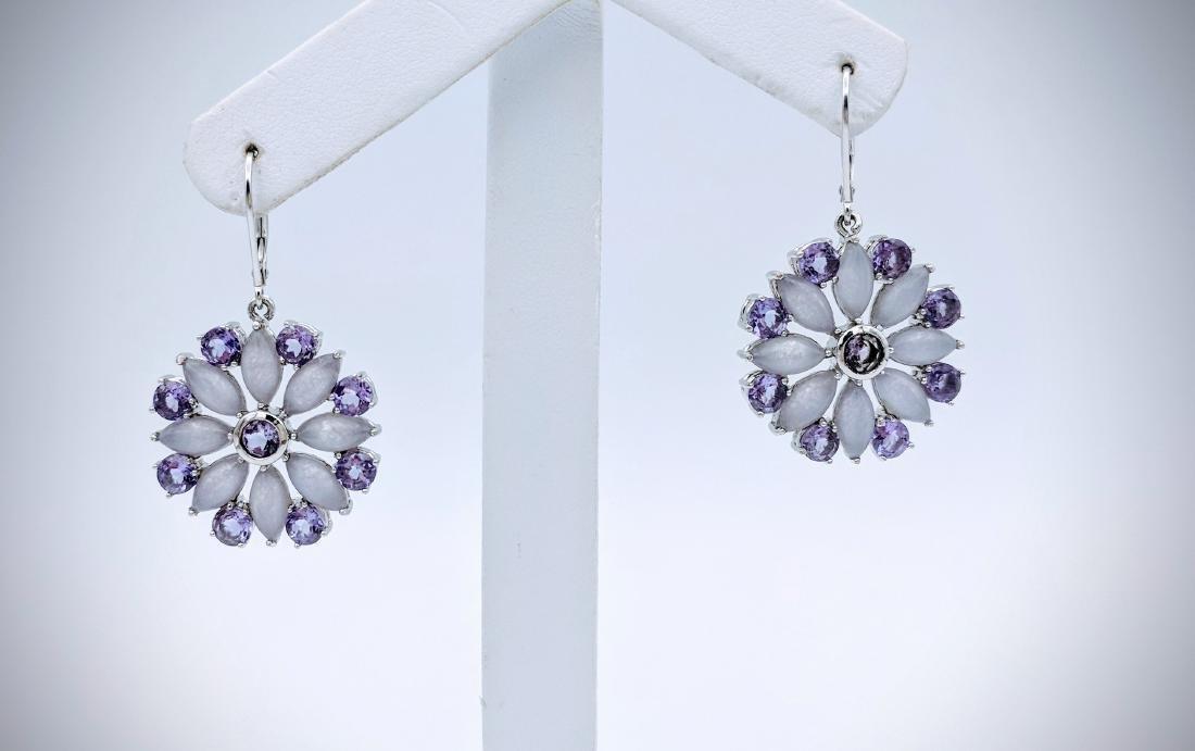 Sterling Silver Violet Jade, and Amethyst Earrings